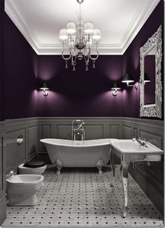 i couldn't have a bathroom so sleek and storageless but i love love this purple and grey