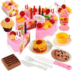 Discount!! 75Pc DIY Pretend Play Fruit Cutting Birthday Cake Kitchen Toys Set Food Juguete Toy Pink Blue Gift for Girls Kids Children