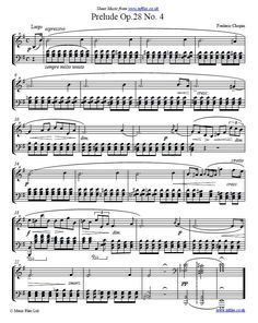 Frederic Chopin: Prelude Op.28 No. 4 in Em for piano - sheet music, midi and mp3.
