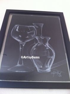Still Life Drawing of Glassware and Vases (White Charcoal on Black Paper, 12 x 15 Frame) via Etsy