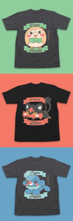 1ae0002e Team Rowlet, Litten & Popplio Pokemon T-Shirts by InksterInc on Etsy