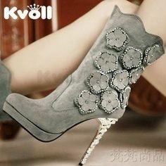 Free shipping kvoll shoes Princess rhinestone three-dimensional flower high-heeled  shoes women s boots 84670bc8e3cb