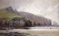 """""""Fisherman on the Shore, Trebarwith Strand, Cornwall,"""" William Trost Richards, 1879, watercolor and gouache on paper, 23 x 37"""", private collection."""