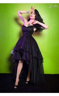 So expensive ($!60) but maybe worth it for Halloween as Ursula.   Pinup Girl Clothing - Gothic Glamour Dress in Black | Pinup Girl Clothing