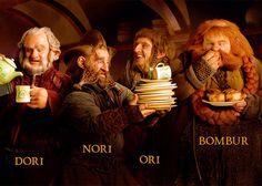 Gandalf, Bilbo, Thorin, Glóin, Óin, Balin, Dwalin, Bofur, Bifur, Kíli, Fíli, Dori, Nori, Ori, Bombur.