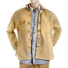 Sugar Cane jacket SC12241H Fiction romance brown vintage wash denim workwear overshirt CANE2830