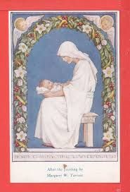 Margaret Tarrant - Jesus Christ, Her Little Child. Illustration from the book Margaret Tarrant's Christmas Garland Religious Images, Religious Icons, Religious Art, Blessed Mother Mary, Blessed Virgin Mary, Hail Holy Queen, Queen Of Heaven, Sainte Marie, Vintage Christmas Cards