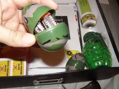 Plastic camo eggs filled with tootsie rolls