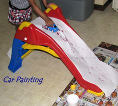 slide painting with cars