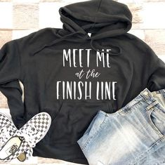 Meet Me at the Finish Line Unisex Hooded Sweatshirt Black Weekend Motivation, Hooded Sweatshirts, Hoodies, Dirt Track Racing, Jeep Stuff, Finish Line, Flags, Cricut, Meet