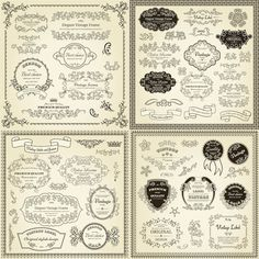 vintage frames and borders | Free set of vintage labels borders frames vector ornate in different ...