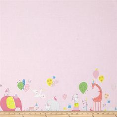 Blend Hip Hooray Party Parade Pink from @fabricdotcom  Designed by Lizzie Mackay for Blend Fabrics, this cotton print is perfect for quilting, apparel and home decor accents. Colors include shades of pink, green, grey, yellow, white, and peach. This fabric features a single border.