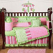 Olivia Pink and Green Trendy Girl 9 Piece Crib Set