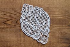 To personalize 1 big lace monogram 4.13 inch 2-piece antique swiss embroidery double monogram NC laundry label initial tag by Yebisu on Etsy