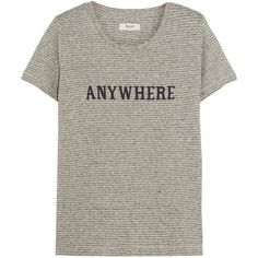 Madewell Anywhere printed hemp and cotton-blend jersey T-shirt ($72) ❤ liked on Polyvore featuring tops, t-shirts, shirts, grey, hemp shirt, hemp t shirts, stripe shirt, woven shirt and t shirts
