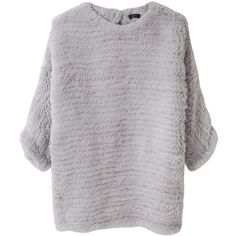 Joseph Knitted Rabbit Fur Sweater. (2 785 AUD) ❤ liked on Polyvore featuring tops, sweaters, shirts, jumpers, women, keyhole sweaters, grey crewneck sweater, 3/4 sleeve shirts, gray pullover sweater and 3/4 sleeve sweaters