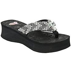 Justin Paige Ladies Black Crystal Mesh w/ Cross Concho Jeweled Flip-Flop by M
