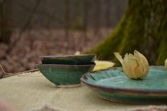 Mint color Forest Wedding dish set, big oval plate and 2 sauce bowls, Rustic style housewarming gift, Sushi dish for couple, witch kitchen Sushi Dishes, Jack Green, Wooden Plates, Deep Forest, Dish Sets, Kitchen Witch, Mint Color, Forest Wedding