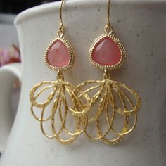 ISTAMBUL - Gold Chandelier with pink stone, classy, casual style, dangle chandeliers, gold earrings, mod jewelry, bridesmaids gifts. $25.00, via Etsy.