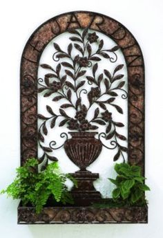 """$300 Le Jardin Tole Wall Planter 39"""" x 24""""  Put your own plants inside, changing them with the seasons and holidays -- poinsettia at Christmas, daffodils and bulbs at Easter, American flags on the 4th of July, etc...."""
