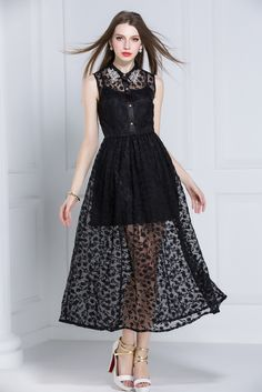 Beaded Embroidered Lace Maxi Dress with in Black