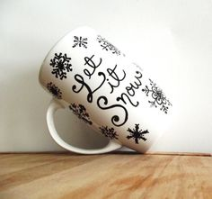 Snowflake Christmas Mug Single Hand Painted Mug by ThePaintedMug