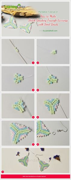 Pandahall Tutorial on How to Make Stitch Beading Triangle Earrings with Seed Beads from LC.Pandahall.com by margie