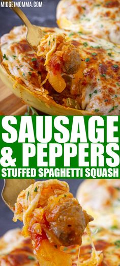 Sausage and Peppers Stuffed Spaghetti Squash is an amazing stuffed spaghetti squash recipe that is bursting with flavor. Fresh peppers, onions, sauce with tasty Italian sausage stuffed into a spaghetti squash and topped with cheese! OH YUM! Italian Sausage Spaghetti, Crockpot Italian Sausage, Sausage And Spaghetti Squash, Spaghetti Squash Casserole, Spaghetti Squash Recipes, Sausage And Peppers, Stuffed Peppers, Spaghetti Squash Carbonara, Keto Recipes