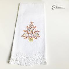 Gold Tree Embroidery Hand Towel,custom embroidery,hand towel,embroidery hand towel,cream towel,tree, gold tree, lace towel,Christmas by JollieSweets on Etsy