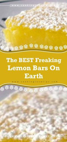 The BEST Freaking Lemon Bars on Earth You think I'm kidding? You will never, ever, buy the ready-to-make box of pseudo-lemon bars again. This one is The BEST Freaking Lemon Bars on Earth! Lemon Desserts, Köstliche Desserts, Dessert Recipes, Lemon Desert Recipes, Lemon Bar Recipes, Kale Recipes, Cream Recipes, Drink Recipes, Healthy Recipes