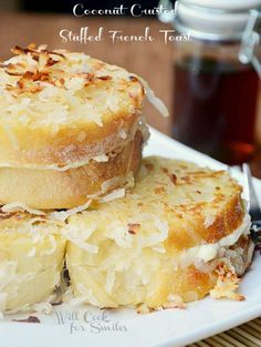 Coconut Crusted Stuffed French Toast  http://recipesjust4u.com/coconut-crusted-stuffed-french-toast/