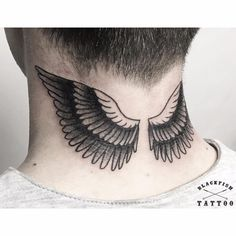 Black Eagle Winged Neck Tattoo
