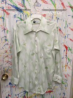 Mens Vintage short sleeve button down polyester pimp by RagsAGoGo