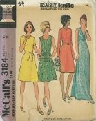 An unused original ca. 1972 McCall's Pattern 3184.  Half Size Basic Dress - Recommended for Knits. Dress in two lengths, with or without sleeves, has back zipper. B with patch pockets, or D has self fabric tie belt.