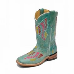 $99.99 Corral Girls Kid�s Boots Turquoise with Multicolored Butterfly EmbroideryCorral style G1052 will transform your little girl into the Princess of the Butterflies! The turquoise leather is truly magnificent and definitely a fashion statement. Pink, red, and yellow threads create an extraordinary butterfly that she�ll want to show off time and time again. So you know what that means! Best to stoc...