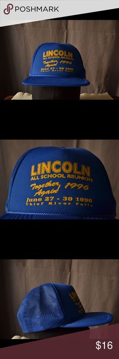 Vintage Lincoln School Reunion Hat Has the classic old school snaps. Hilariously specific hat. Wear it ironically or hey maybe you were actually there! Has great colors.  Bundle with my other hats for a discount. Vintage Accessories Hats