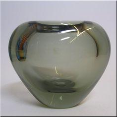 Holmegaard Per Lutken Smokey Glass 'Minuet' Vase Signed