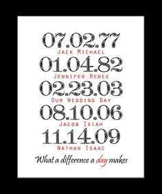Printable - Personalized Digital Wall Art - Family Wall Art - Special Dates - What a difference a day makes. $9.99, via Etsy.