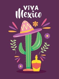 Independence Day, Cactus, Neon Signs, Stock Photos, Poster, Design, Art, Viva Mexico, Art Background