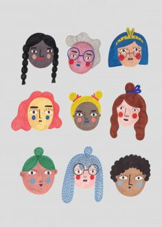 Girl Power Cute poster prints by Daria Solak Illustration Mignonne, Face Illustration, People Illustration, Character Illustration, Digital Illustration, Arte Pulp Fiction, Arte Hippy, Character Art, Character Design