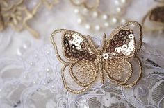 gold butterfly lace applique, metallic gold sequins butterfly lace trim, BU004-in Lace from Home & Garden on Aliexpress.com | Alibaba Group