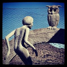Helen Martins, Creator of the Owl House in Nieu Bethesda. One of the many sculptures in her 'Camel Yard'. Sculpture Garden, Sculpture Art, Sculptures, Provinces Of South Africa, Cobra Art, South African Art, Owl House, Mecca, Outsider Art