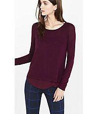 Crepe Lined Split Back Sweater | Express