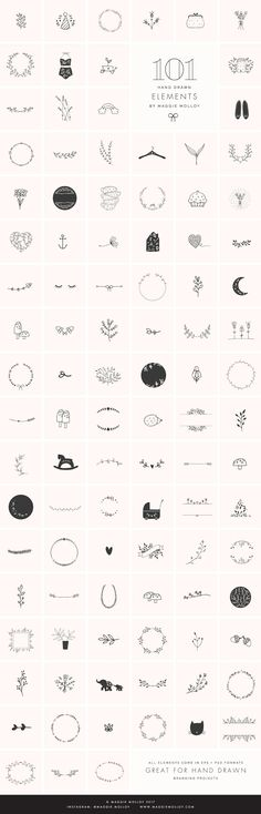101 Hand Drawn Logo Elements EPS PSD - Illustrations. Elegant and feminine design elements for bloggers, female entrepreneurs and any other creatives. Pin for later!