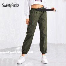 Sweatyrocks Ejercito Verde Casual Bolsillo Lateral Cordon Cintura Pantalones Cintura Elastica Pantalones Coni Pantalones Pantalones Deportivos Pantalones Capri