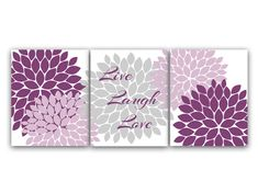 Exceptionnel Digital Bedroom Wall Art Set Of 3 Modern Art In Shades Of Purple And Gray.  Great For Home Decor Or Housewarming Gift   Live Laugh Love Floral