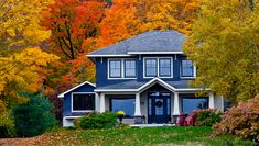 30 Houses with a Blue Exterior (Photos – All Types of Blue) Types Of Blue, Energy Efficiency, Autumn Home, Home Decor Styles, Landscape Architecture, Home Buying, Facade, Home Improvement, Real Estate