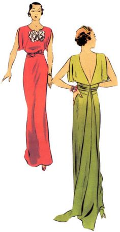 T6573 1930s Ladies Evening Gown with Train Hollywood Glamour Retro   eBay