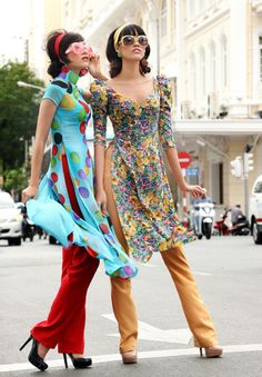 Modern ao dai - pretty blue contrast with red pants