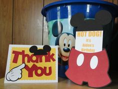 Mickey Mouse Birthday Party Invitation and Thank You Card I Made - IttyBittyLadybugs.blogspot.com